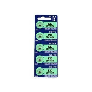 Sony 337 (SR416SW) 1.55V Silver Oxide 0%Hg Mercury Free Watch Battery (5 Batteries)