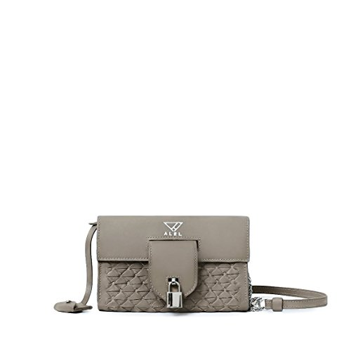 DOMINICA taupe italian leather clutch wallet-style cross-body handbag with woven design silver hardware and monogram by ALEL