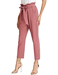 Women's Pants Trouser Slim Casual Cropped Paper Bag Waist Pants with Pockets