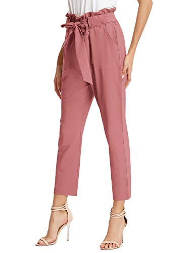 GRACE KARIN Women's Cropped Paper Bag Waist Pants with Pockets (Salmon Pink, X-Small)