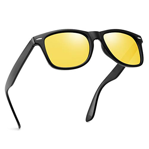 Polarized Night Vision Sunglasses For Men Women Retro TR90 Frame Square Shades Vintage BRAND DESIGNER Classic Sun ()