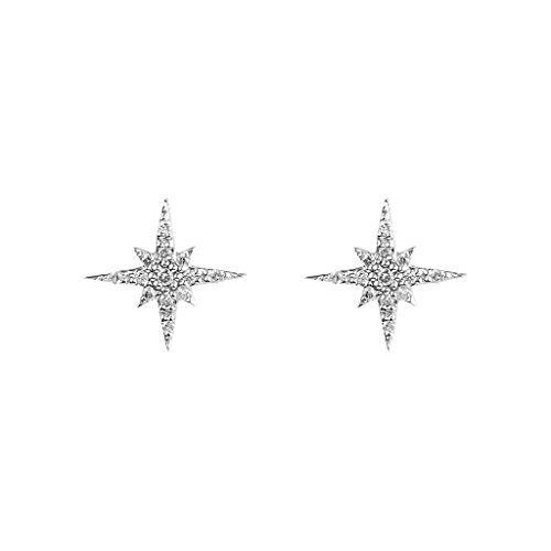 - FRONAY Sterling Silver Starburst Stud Earrings, Galaxy, Twinkle, CZ
