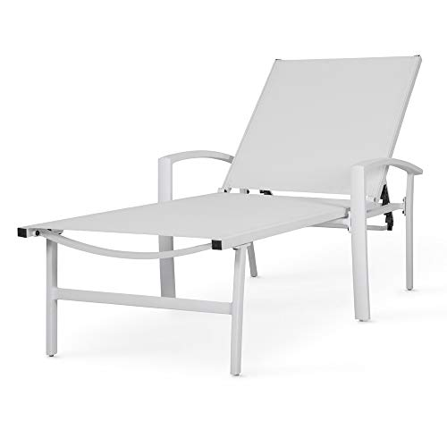Chaise Lounge Chair Aluminum with 5 Position Adjustable Back Outdoor Beach Pool Modern Patio Furniture (White)
