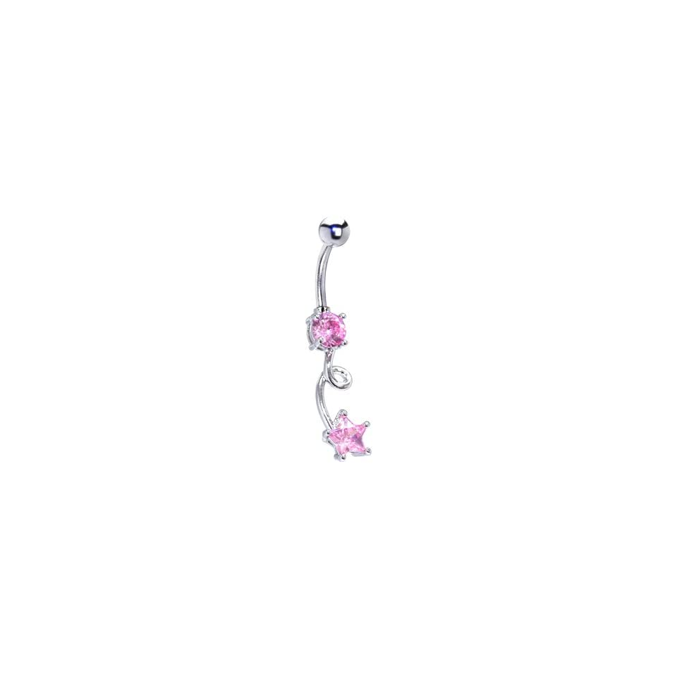 Passion Pink Gem Ecstasy Dangle Belly Ring Jewelry