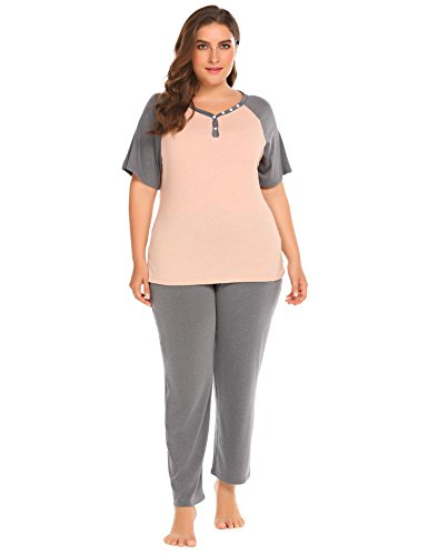 Elastic Waist Short Sleeve Pajama Set (Plus Size Women's Boat Neck Short Sleeve Shirt Elastic Waist Long Pants Sleepwear Pajamas Set)