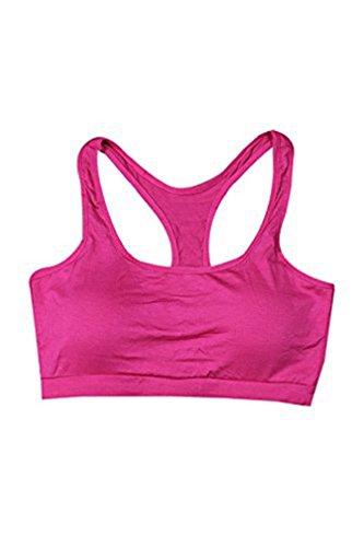 Secret Paradise–Sujetador de las mujeres de color fluorescente deporte sujetador acolchado Fitness espalda cruzada chaleco rosa (b)