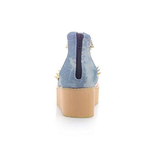 Talon à Femme d'orteil Jean Odomolor Ouverture Correct Zip Tong Mosaïque Sandales Bleu à wIqdxvU
