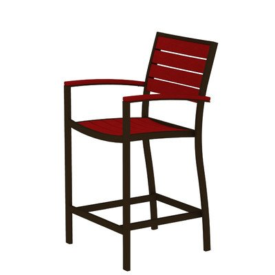 (Euro Counter Arm Chair Finish: Textured Bronze, Seat and Back Finish: Sunset Red)