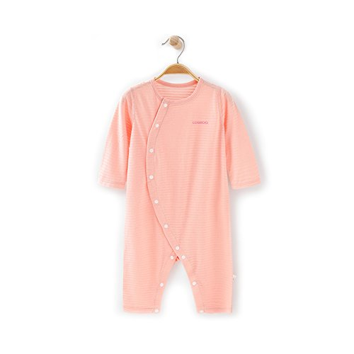 COBROO 100% Cotton Unisex Baby Romper with Short Sleeves Solid Color Breathable Thin Summer Onesie for 0-24 Months