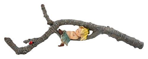 Top Collection Miniature Fairy Garden and Terrarium Garden Sprite Napping on Tree Branch Statue