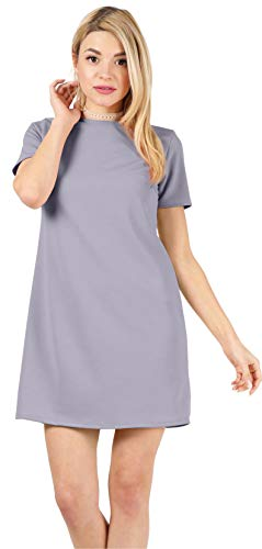 Above The Knee Short Sleeve Straight Basic Plain Cocktail Summer Shift Dresses for Women- Made in U.S.A (Size Small US 2-4, Lavender)