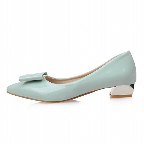 Carolbar Women's Sweet Solid Color Low Heel Bow Pointed Toe Date Shoes Mint Green O1mYYHNS