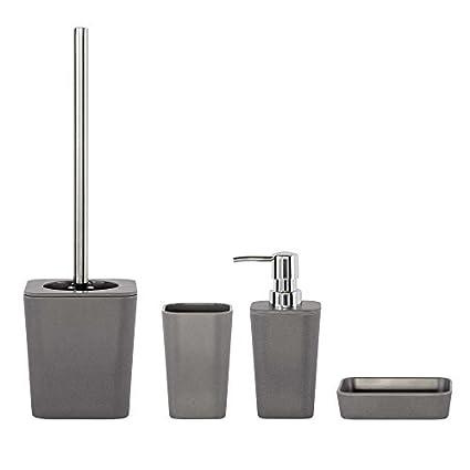 4 piezas baño Set Natural Gris/dispensador de jabón, jabonera, vaso para cepillos