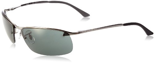Ray-Ban Men's RB3183 Rectangular Metal Sunglasses, Gunmetal/Green, 63 mm