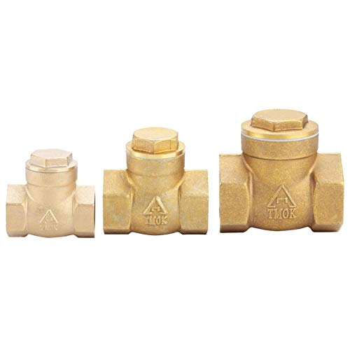 Fincos Solenoid Valve Golden Brass One Way FemaleThread Swing Check Valve Brass Check Valve Parts Electric Magnetic Valve - (Specification: 3