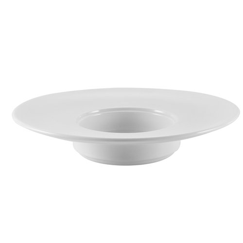 CAC China RCN-310 Clinton 7 oz Porcelain Round Wide Rim Pasta Bowl, 10'' Diameter by 2'', Super White (Box of 12)