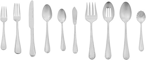 Stainless Flatware Set - AmazonBasics 65-Piece Stainless Steel Flatware Set with Pearled Edge, Service for 12