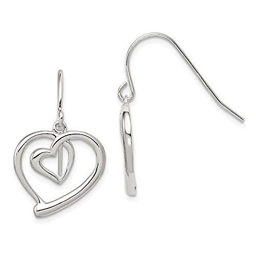 925 Sterling Silver Heart Drop Dangle Chandelier Earrings Love Fine Jewelry Gifts For Women For Her ()