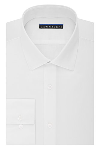 Geoffrey Beene Men's Fitted Sateen Solid Dress Shirt, Whi...