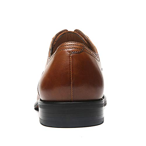 La Milano Mens Leather Cap Toe Lace up Oxford Classic Modern Business Dress Shoes for Men