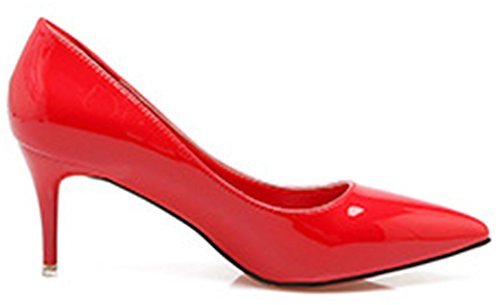SHOWHOW Womens Office Patent Leather Slip On Pumps Shoes Red GFZvVmLUkl