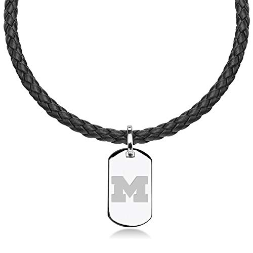 M. LA HART University of Michigan Leather Necklace with Sterling Dog Tag