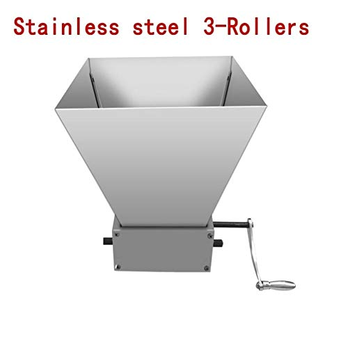 Maslin Newest Stainless Steel 2/3 Rollers Barley Malt Mill Grain Grinder Crusher For Homebrew Granulator Grinder Manual Beer Machine - (Color: Stainless 3-Rollers)