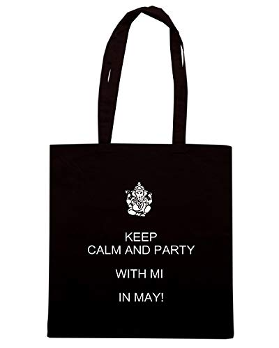 Speed Shirt Borsa Shopper Nera TKC2989 KEEP CALM AND PARTY WITH MI IN MAY
