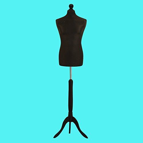 Black Male Tailors Mannequin Display Bust Dummy FOR Dressmakers Fashion Students With A Black Wood Tripod Base (Size 52/54, UK 42 Chest) by H & H Traders