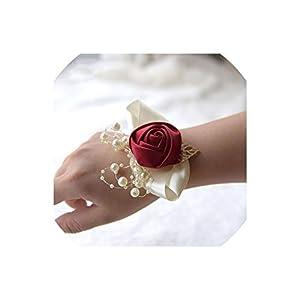 alerghrg Wedding Prom Corsage Bride Wrist Flower Ceremony Corsages Party Pearl Bracelet Handmade Bridesmaid Hand Flowers FE89 64