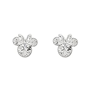Disney Minnie Mouse Birthstone Jewelry, Silver Plated Crystal Stud Earrings for Women and Girls