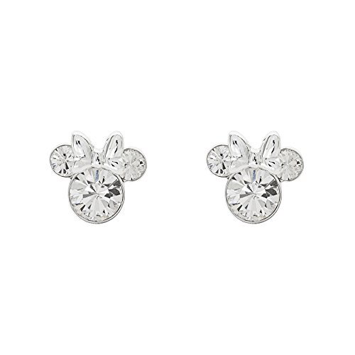 Disney Women's Jewelry Minnie Mouse Silver Plated Brass April Birthstone Stud Earrings Mickey's 90th Birthday Anniversary