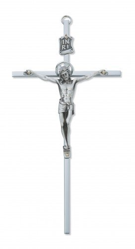 Silver Tone Jesus Christ INRI Cross Wall Crucifix, 8 (Brass Wall Crucifix)