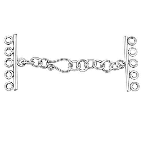 Sterling Silver Multi Strand Clasp with 5 Hole CSS-156-5H Bali Sterling Silver Bead Caps