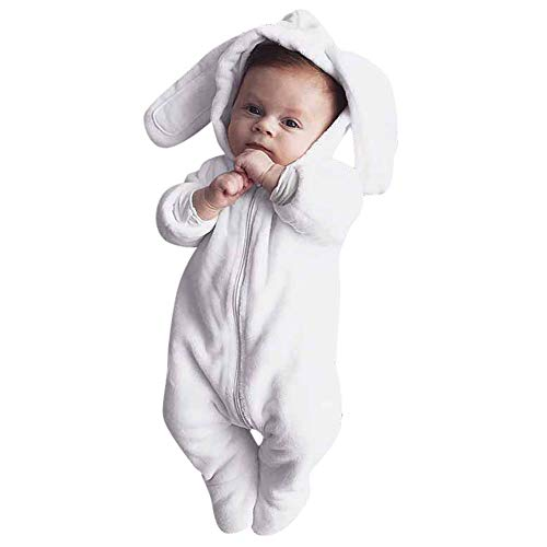 Lookvv Baby Boys Girls Easter Bunny Hooded Romper Cartoon 3D Rabbit Long Sleeve Bodysuit 3-6 Months White (Hooded Long Sleeve Hat)