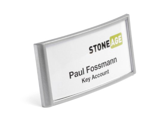 Durable Combi Clip Badge - Durable 854123 Classic Name Badge with Combi Clip 30 x 65 mm - Silver (Pack of 10)