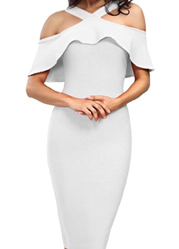Shoulder Women Flounced Zipper Coolred Sleeve Neck Out Cut White Dress High dnYAUnw