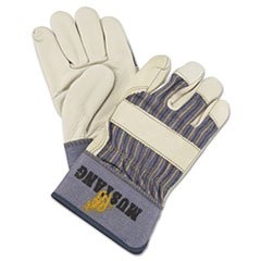Memphis 1935L Mustang Leather Palm Gloves, Blue/Cream, Large, 12 Pairs