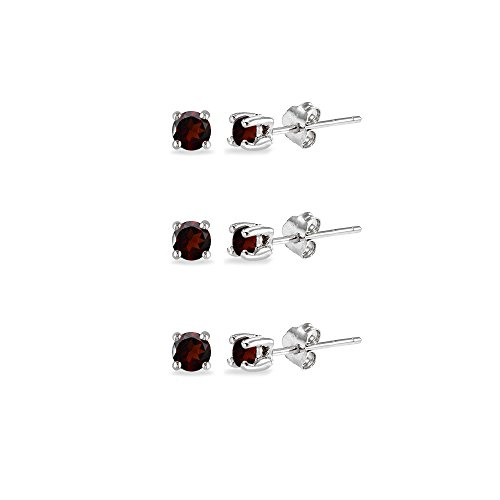 3-Pair Set Sterling Silver Garnet 2mm Round Stud Earrings ()