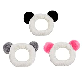 AUEAR, Set of 3 Lovely Panda Hair Bands Panda Ears Headbands for Makeup Washing Face Exercise Yoga Home for Women and Girls