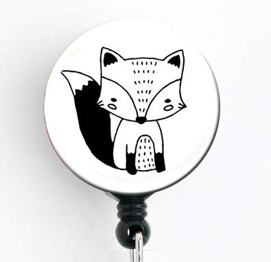 Fox Hand Drawn Black and White - Retractable Badge Reel with Swivel Clip and Extra-Long 34 inch Cord - Badge Holder