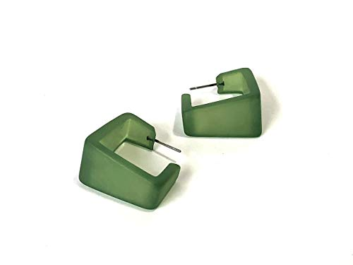 (Sea Glass Green Wide Cubist Square Hoop Earrings)