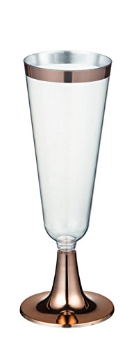 Champagne Flutes – 50-Count Plastic Champagne Glasses, Toasting Flute Set, Decorative Drinking Glasses for Housewarming Parties, Formal Events, Graduation Celebrations, Rose Gold, 5 Fl.Oz