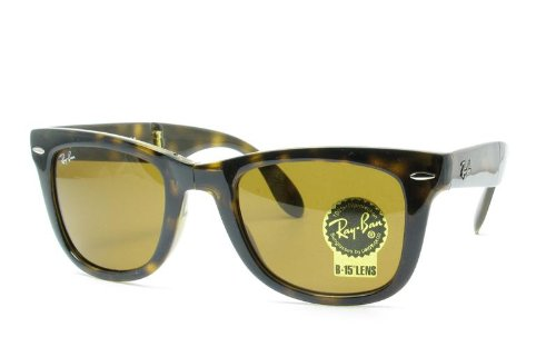 Ray-Ban Mens Folding Wayfarer Non-Polarized Square Sunglasses, Light Havana, 54 - Rayban Folding