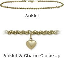 14K 9'' Yellow Gold Wheat Style Anklet with 9mm Heart Charm by Elite Jewels