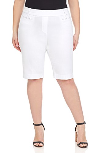 (Rekucci Women's Ease in to Comfort Curvy Fit Plus Size Modern City Short (20W,White))