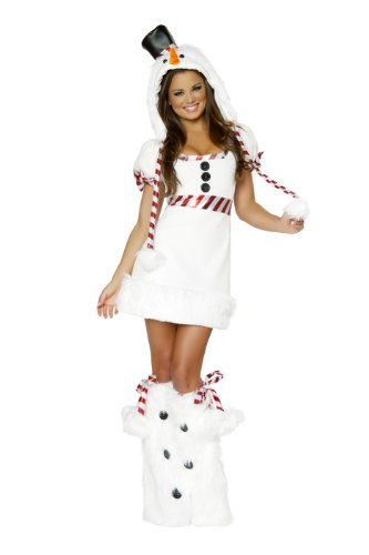 [J. Valentine Women's Snowman Mini Dress, White/Red, Large] (Candy Cane Costume For Adults)