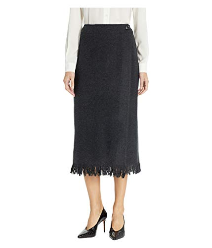 Pendleton Women's Fringed Wool Wrap Skirt, Black Mix, 14