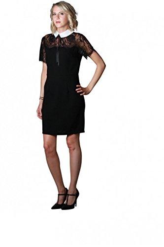 d84b02320b6 Robe noire fluide coupe droite à dentelle et col blanc - Noir - M   Amazon.fr  Vêtements et accessoires