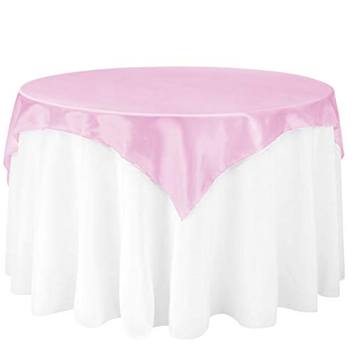 - LinenTablecloth 60-Inch Square Satin Overlay Pink
